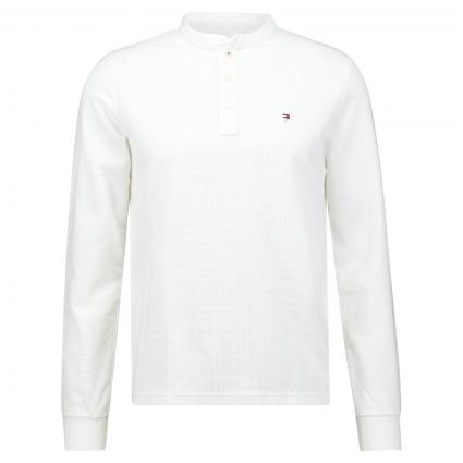 Langarmshirt mit Polokragen weiss (YBR WHITE) | XXL