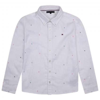 Button-Down Hemd mit All-Over Muster  weiss (YBR WHITE) | 176