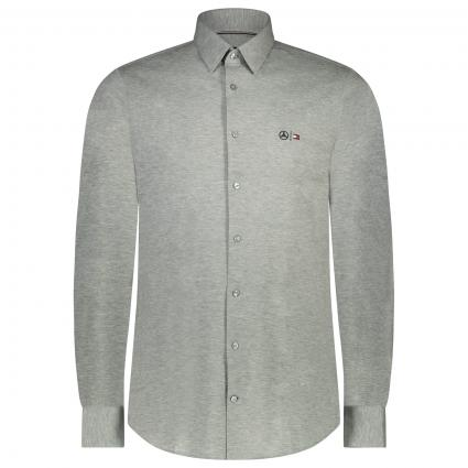 Slim-Shirt Hemd mit Label-Stickerei  grau (P9Y GREY)   S