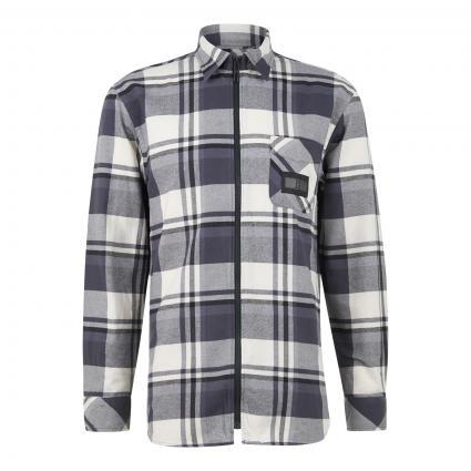 Flanellhemd mit Reißverschluss schwarz (0MD BLACK) | M