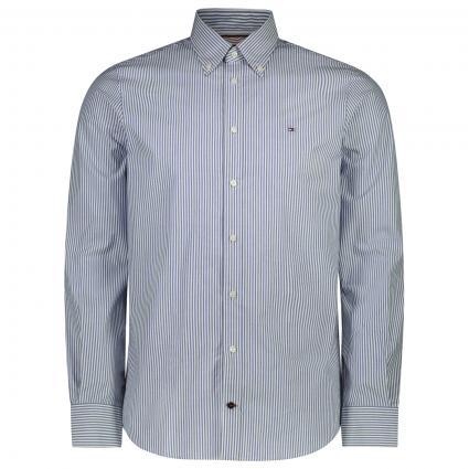 Slim-Fit Button-Down Hemd mit All-Over Streifenmuster  blau (0HA BLUE) | 45