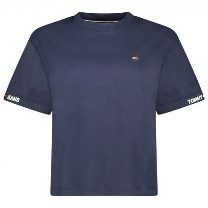 T-Shirt mit Label-Stickerei  blau (C87 BLUE) | L