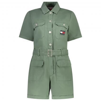Boilersuit mit Gürtel und Label-Stickerei  grün (L0P GREEN) | XL