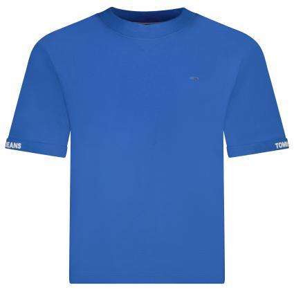 T-Shirt mit Label-Stickerei  blau (C45 BLUE) | XS
