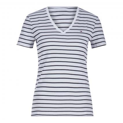 T-Shirt mit V-Ausschnitt weiss (0FB WHITE)   S