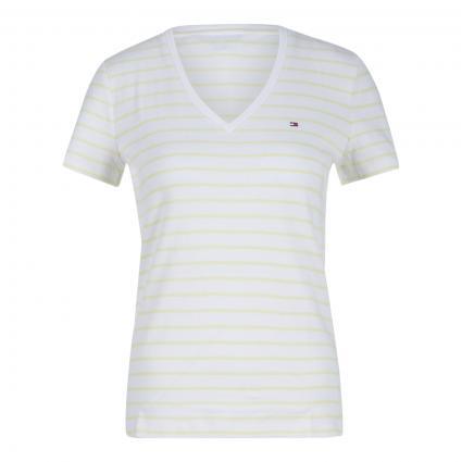 T-Shirt mit V-Ausschnitt weiss (04Q WHITE)   L