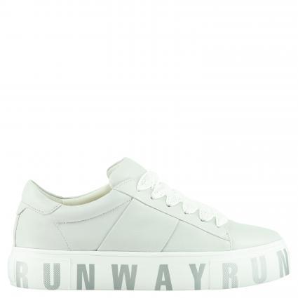 Sneaker aus Leder mit Plateausohle grau (PAST GREY S WE) | 5,5