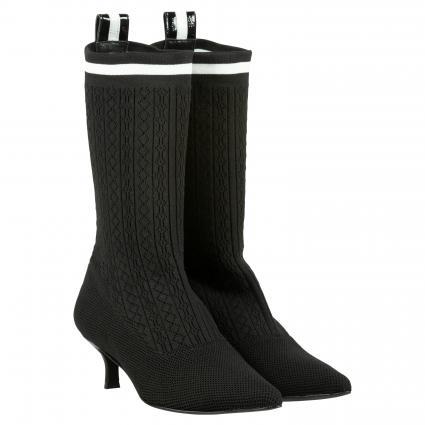 Stiefeletten in Socken-Optik mit Konstraststreifen schwarz (SOCK NEGRO) | 40