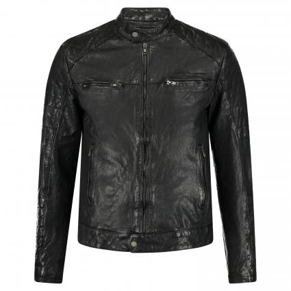 Lederjacke 'Andy' im Biker-Stil schwarz (black)   M