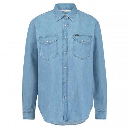 Jeanshemd mit dekorativen Druckknöpfen blau (OPAL) | S