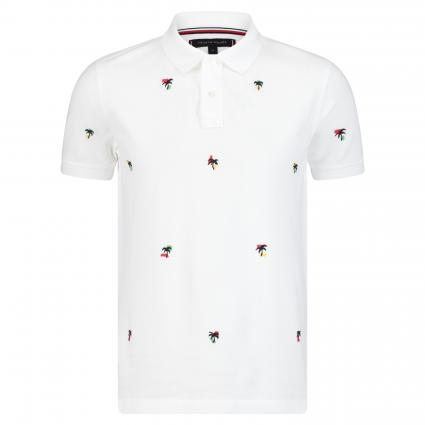 ALLOVER PALM EMBR POLO RÉGULIER blanc (100 WHITE) | XXL