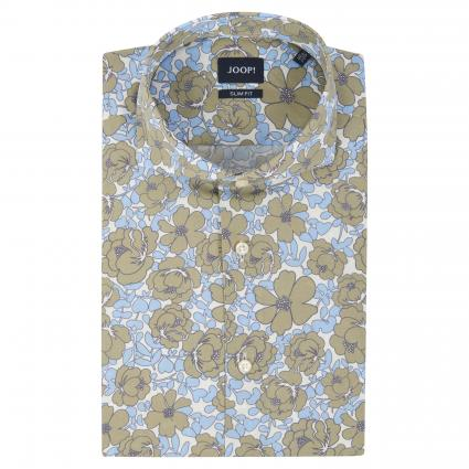Slim-Fit Hemd 'Pajos' mit floraler Musterung oliv (450) | 39