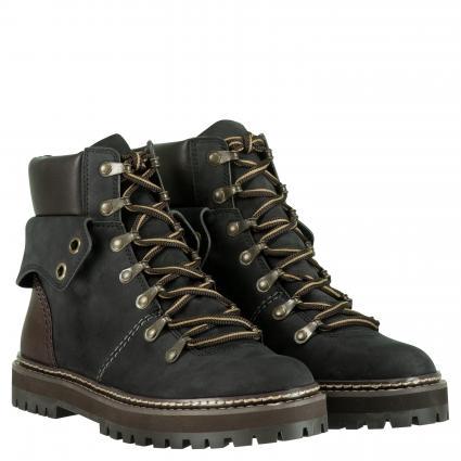 Boots aus Leder mit Umschlagdetail schwarz (8233 BLACK) | 37
